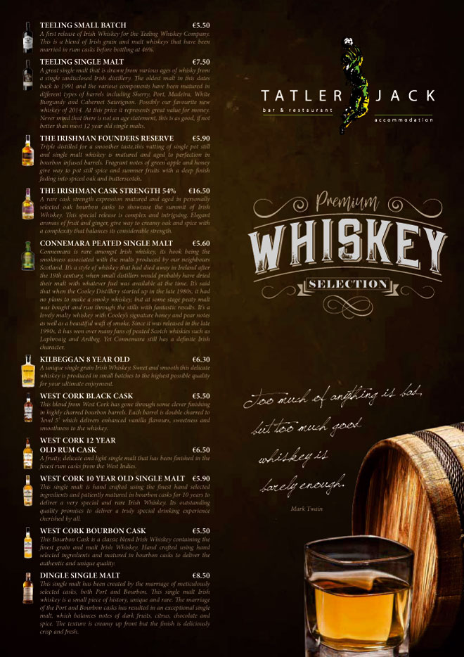 TATLER JACK WHISKEY MENU