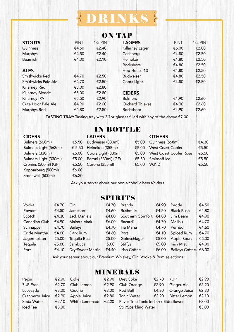 TATLER JACK DRINKS MENU